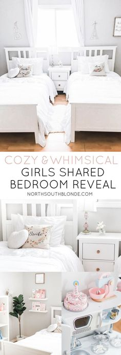 Here I'll be sharing all of the details of our 3-year-old and 4-year old girls' shared bedroom update. A room made up of neutral tones, soft pink accents, delicate details, and all white furniture for a bright and dreamy look! Vintage   Shabby Chic   Farmhouse   Rustic   All White   Little Girl's Room   Chic   Ikea Hack   Ikea Hemnes Nightstand   Hemnes Bed   Kallax   Toy Storage   Big Girl Bed   Home Decor   Home Design   Toddler Girls   #rusticbeddingfurniture