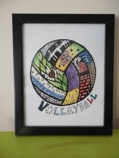 Volleyball picture drawing wall hanging home decor by LOL2 on Etsy
