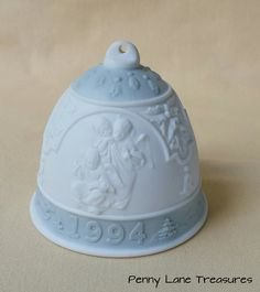 Vintage LLADRO Christmas Bell ~ 1994 ~ Hand Made Porcelain ~ Blue ~ Bisque by PennyLaneTreasures on Etsy