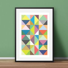 Geometric Triangle print. Multicoloured Nordic style. Simple, modern and eye-catching, this print will add a Scandi finish to any room. Also available in other colour options - please see my store.  Most of my prints are now available for you to print at home in my other shop here: www.etsy.com/uk/shop/NordicDesignHouseCo   MY PRINTS  All of my prints are designed inhouse so if you require a different colour or alteration please just send me a convo and I will be more than happy to make any…
