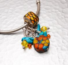 Bracelet Dangle Charm  Colorful Turquoise  by BeccaGraceStudio, $25.95