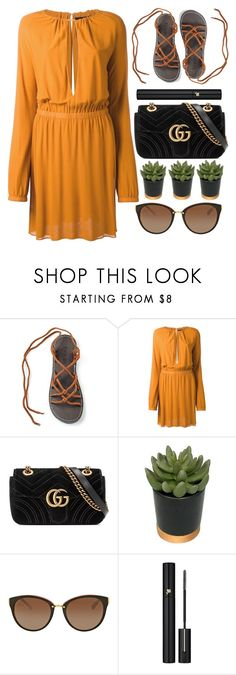 """""""Locked"""" by monmondefou ❤ liked on Polyvore featuring Jay Ahr, Gucci, Threshold, Michael Kors, Lancôme, black and orange"""
