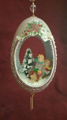 Sledding Kids Jumbo Goose Egg Ornament