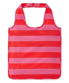 Rugby Stripe Reusable Shopping Tote - Pink/Red