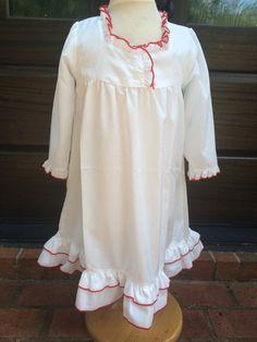 girls christmas nightgown with monogram by theorangeiris