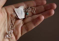 Lug, Celtic harp sterling silver bracelet