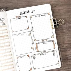 Bullet Journal Packing List for a Good Holiday Bullet Journal Packing List, Bullet Journal Planner, Bullet Journal Travel, Bullet Journal Spread, Bullet Journal Inspiration, Journal Layout, My Journal, Journal Pages, Journal Ideas