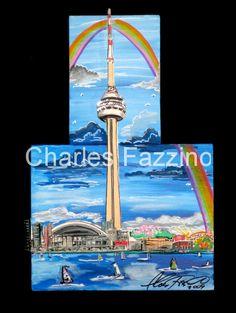 """Toronto Blue, mixed media pop art by Charles Fazzino. 15"""" x 10"""". #popart  #charlesfazzino #toronto"""