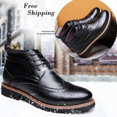 Boots - Brogue Leather Cotton Men Boots