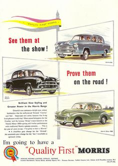 Morris cars advert, issued by BMC, in The Motor - 1956 by mikeyashworth, via Flickr