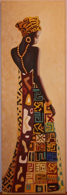 africana  pintada a oleo...