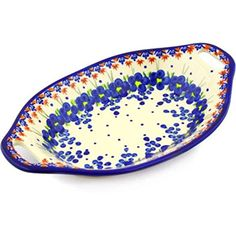 Ceramika Bona H1851G Polish Pottery Ceramic Bowl with Handles Hand Painted, 13-Inch