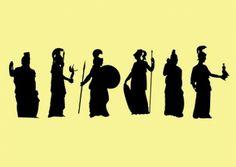 Griekse Gooddess silhouetten