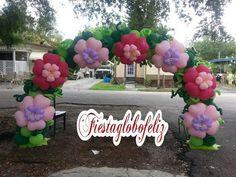 Como hacer un arco con flores de globos de corazón - YouTube