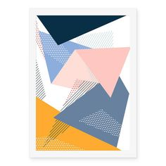 Poster Geométrico Rosa Cinza Amarelo - AntiMonotonia Store