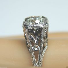 Antique Diamond Engagement Ring Platinum Solitaire Vintage RARE Estate Art Deco Ring Size ~ 7 UK-N1/2.