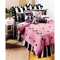 pink and black bedroom ideas | decorations teenage bedding is very popular with pink and black they ...