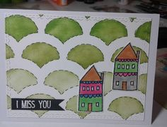 I miss you card. Ink and stencils. Stamped and copic markers. Embossing. #papergeometryco