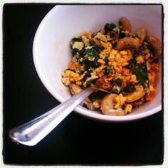 spinach mushroom tofu scramble