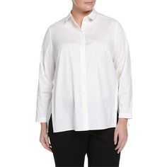 Lafayette 148 New York Plus Zelida Long-Sleeve Organza-Back Blouse ($171) ❤ liked on Polyvore featuring plus size fashion, plus size clothing, plus size tops, plus size blouses, white, long sleeve shirts, shirts & blouses, white long sleeve blouse, white sheer shirt and side slit shirt