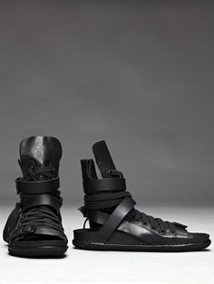 Ann Demeulemeester Leather Lace Up Sandal. Almost a mix between a boot and a sandal with a lot of detail. The complexity is what draws me in here. Of course nothing less than perfection can be expected from Ann Dem.