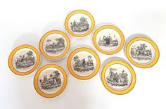 8 French Antique Plates Fables of Fontaine  by Vintagefrenchlinens