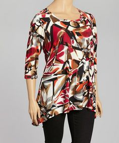 Take a look at this Red & Cream Abstract Sidetail Tunic - Plus by GLAM on #zulily today!