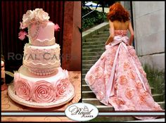 Confection Couture! www.RoyalCakesLA.com - Hand crafted sugar rosettes and accents of pearls complement fashion at its best! www.RoyalCakesLA.com