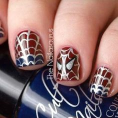 Spiderman themed nails #amazing