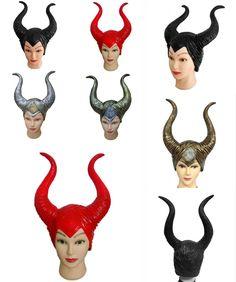[Visit to Buy] Maleficent Mask trendy Genuine latex maleficent horns adult women halloween party costume jolie cosplay headpiece hat wig  #Advertisement
