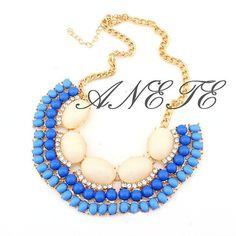 Beige Blue Bubble bib Fan Frange Statement by Anetejewelry on Etsy, $9.99