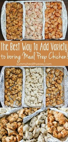 How to Add Variety to Meal Prep Chicken! Add variety to that boring meal prep chicken with these three delicious clean-eating marinades! Separate a cookie sheet into thirds using tinfoil and create three different flavors of chicken for your meal plans! Healthy Snacks, Healthy Recipes, Healthy To Go Meals, Healthy Grilling, Detox Recipes, Quick Recipes, Grilling Recipes, Smoothie Recipes, Prepped Lunches