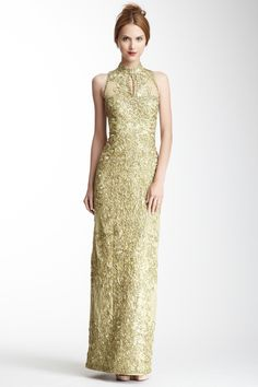 Sue Wong Mandarin Collar Beaded Dress