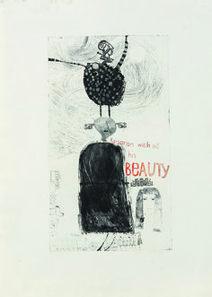 David Hockney, 'Kaisarion with all his Beauty' Etching and aquatint printed in black and red, 1961.