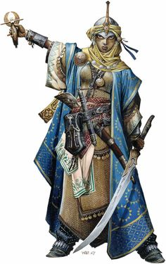 "Kyra by Wayne Renolyds. The cleric ""Iconic"" character for Pathfinder. Iconic characters in Pathfinder illustrate the hows and whys of class to players both new and old, along with having their own place in the setting.  A popular character, and personal fav."