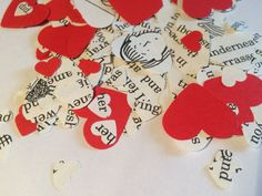 Heart Shaped Confetti RED Story Book Party Decor by FuNkTjUnK