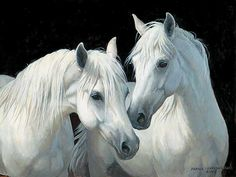 "Persis Clayton Weirs Original Acrylic Painting:""Stable Mates-Horses"""
