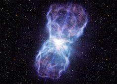 Concepção artística mostra o jato de matéria em torno do buraco negro de elevada massa no quasar (Foto: Divulgação/ESO/L. Calçada)