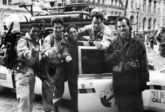 Ernie Hudson, Harold Ramis, director Ivan Reitman, Dan Aykroyd and Bill Murray on the set of Ghostbusters II (1989).