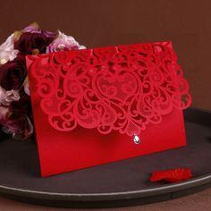 2016 новый урожай поставки китай лазерная резка роскошные свадебные приглашения красный элегантные свадебные приглашения бумага карты 50 шт.