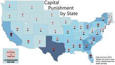 Capital Punishment A map of the number of executions and death row inmates by state