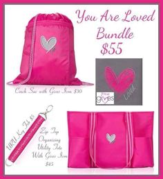 Thirty-One Spirit Cinch Sac, U R U Words Hang-It-Up Key Fob, and the Zip-Top Organizing Utility Tote with the Gives Icon on it all in a bundle set for $55!!  What a great set!