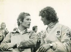 The two prettiest drivers ever to turn a wheel in anger. Jacky Ickx is modeling a preppy, college-y loook. I think they are both post-race as their hair is all curly.