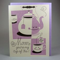 Mom you're my cup of tea. Cute letterpress card by Hello Lucky. Available at The Curious Pancake. £3.20