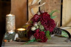 red winter bouquet and tree pieces