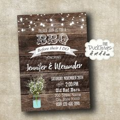 I DO BBQ Invitation Rustic invitation Baby's breath by 5Ducklings