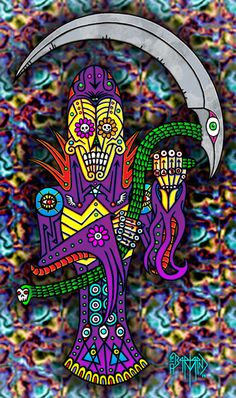 This one is a mix of Halloween and Dia De Los Muertos. I drew this guy in my sketchbook with black ink and really liked him so scanned him in and added digital colors. I love mixing dark imagery and bright colors. We are getting closer to the reveal of this years Halloween piece so stay tuned. I finished the inks on it tonight.
