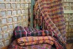 58x58 Upcycled TwiceSpun Silk THROW SARI MultiColor by Dahlush