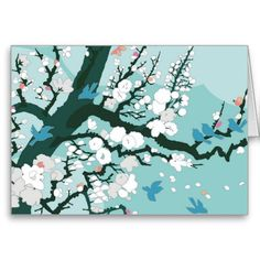 Blue Bird Silhouette White Flower Tree Teal Cards