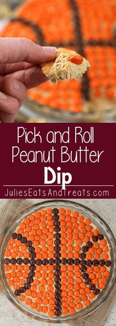 Pick and Roll Peanut Butter Dip ~ Delicious, Creamy Peanut Butter Dip topped with Reese�s Pieces!